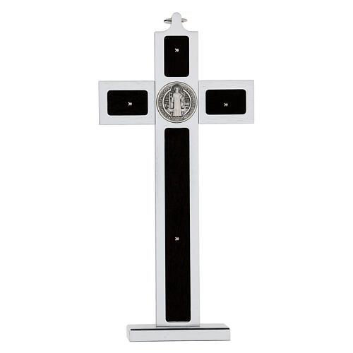 Croce San Benedetto alluminio legno con base 25x10 cm 5
