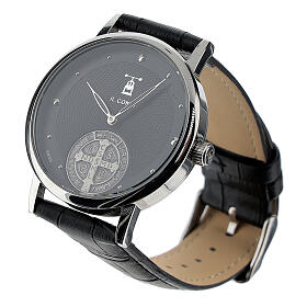 Black wristwatch with Saint Benedict medal in 925 silver