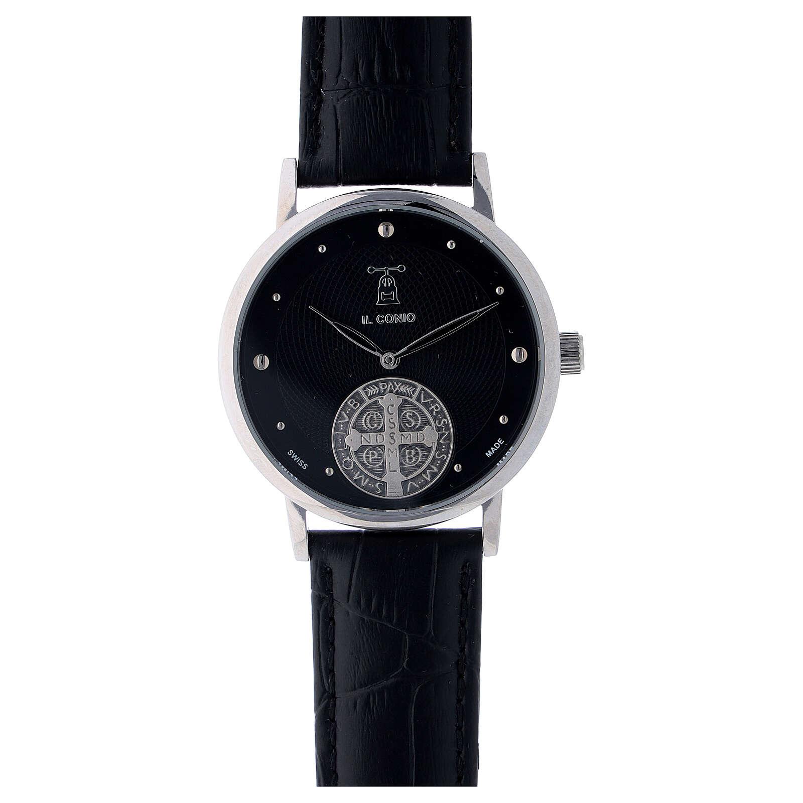 Montre noire Saint Benoît argent 925 4