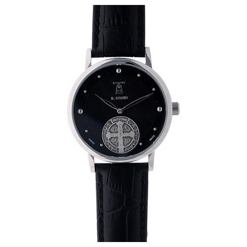 Montre noire Saint Benoît argent 925 1