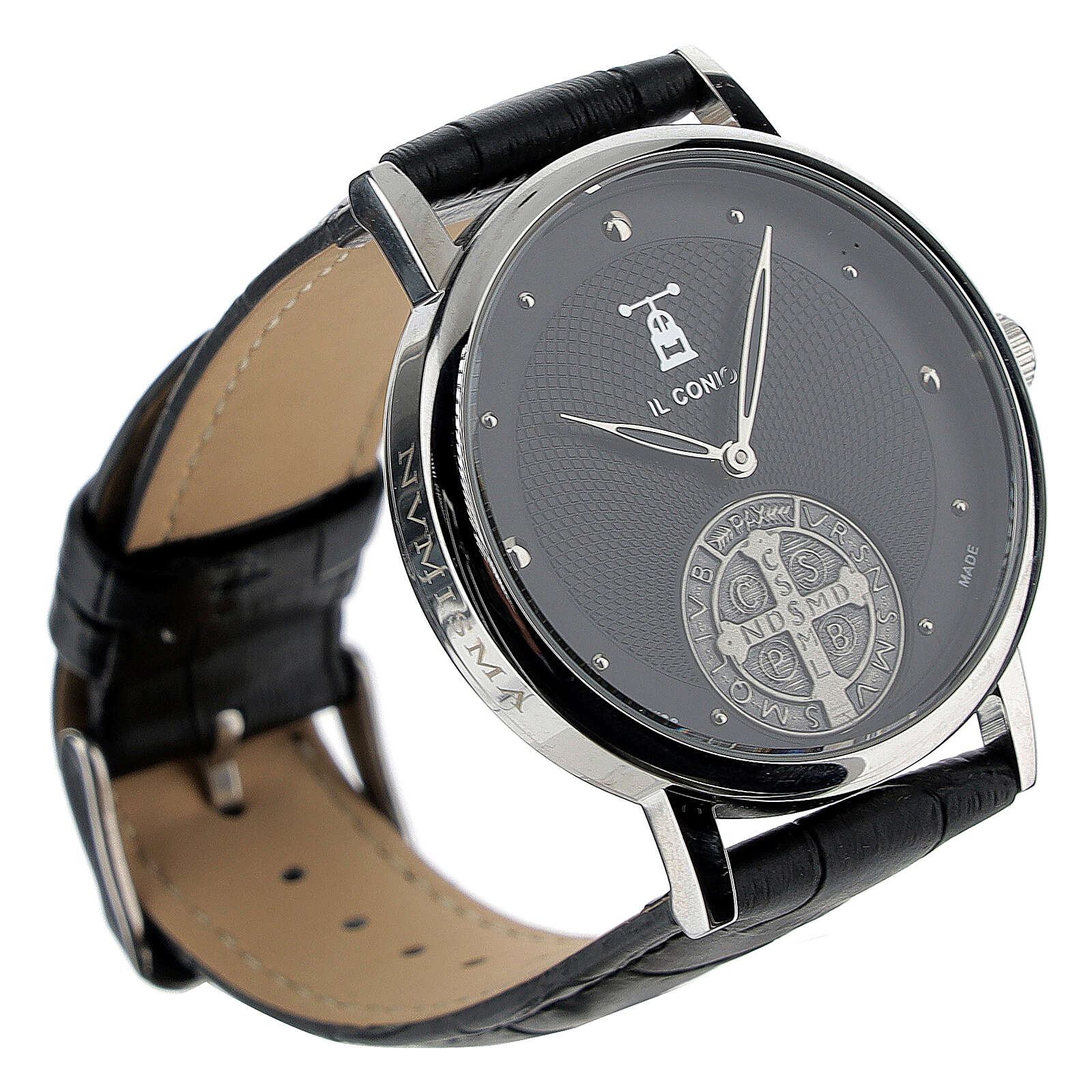Black wristwatch with Saint Benedict medal in sterling silver 4