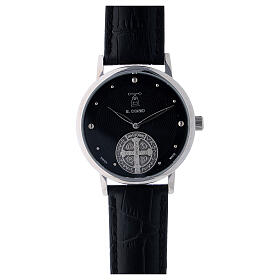 Black wristwatch with Saint Benedict medal in sterling silver s1