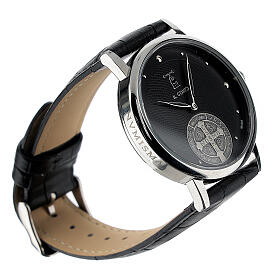Black wristwatch with Saint Benedict medal in sterling silver s4