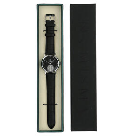 Black wristwatch with Saint Benedict medal in sterling silver s5