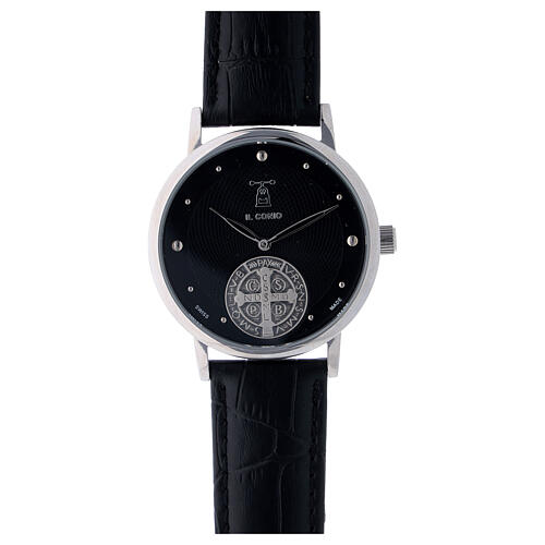 Black wristwatch with Saint Benedict medal in sterling silver 1