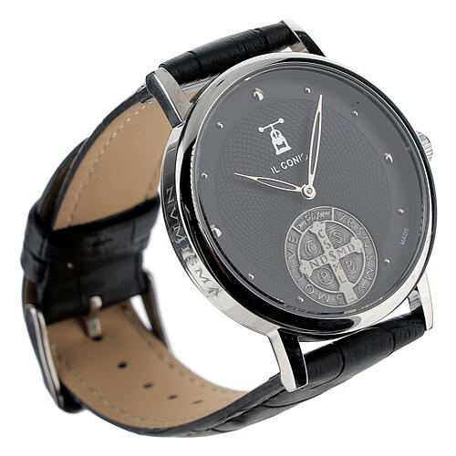 Black wristwatch with Saint Benedict medal in sterling silver 3