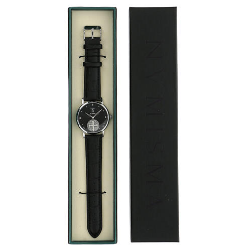 Black wristwatch with Saint Benedict medal in sterling silver 5