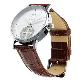 St. Benedict's white dial watch in 925 silver