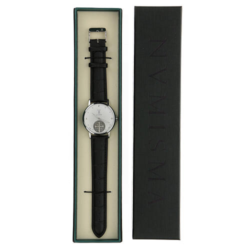 St. Benedict's white dial watch in 925 silver 5