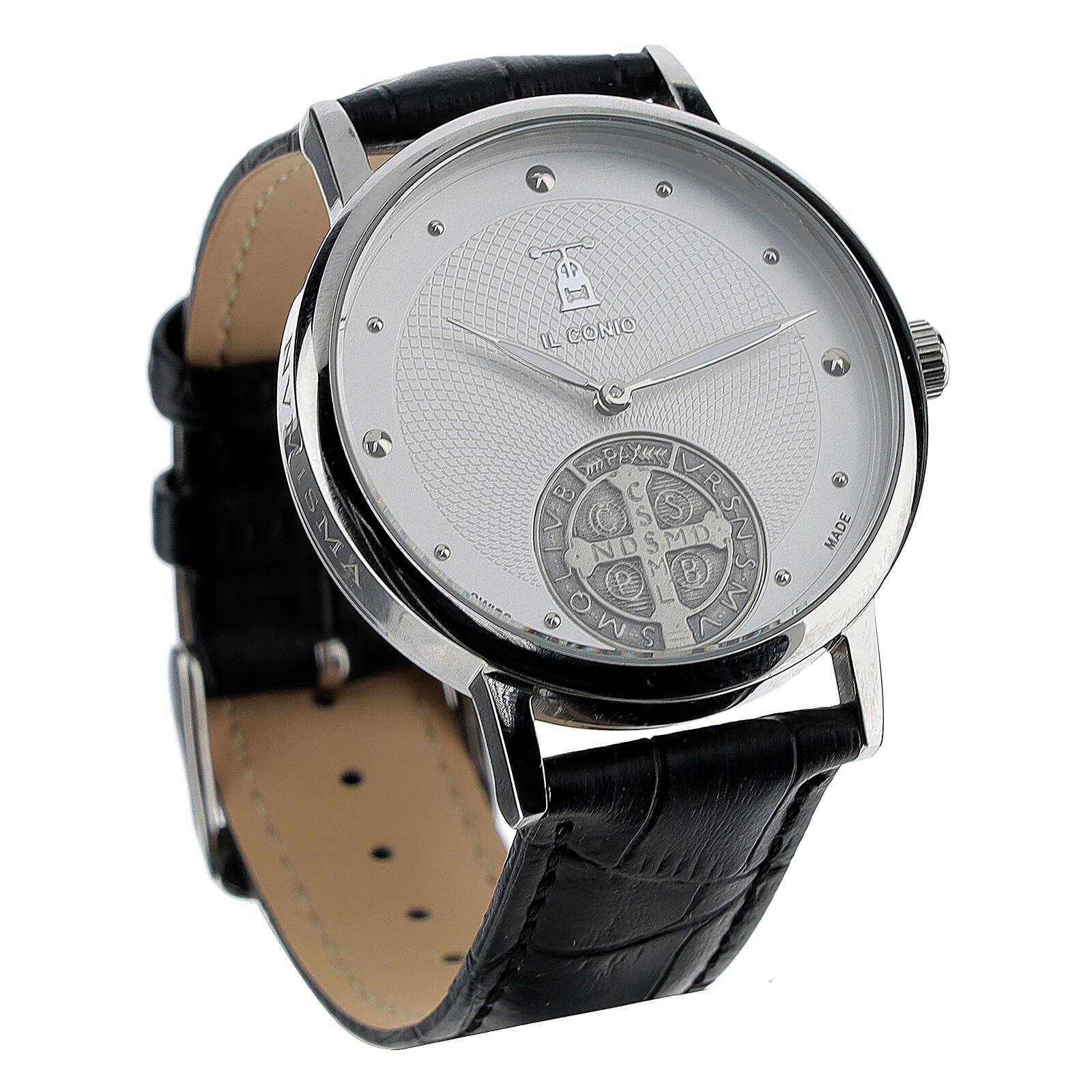 St. Benedict's white dial watch in sterling silver 4