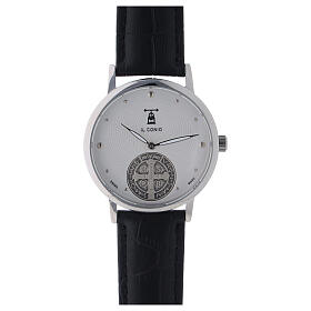 St. Benedict's white dial watch in sterling silver s1