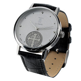 St. Benedict's white dial watch in sterling silver s4