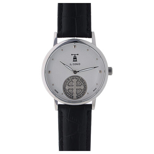 St. Benedict's white dial watch in sterling silver 1