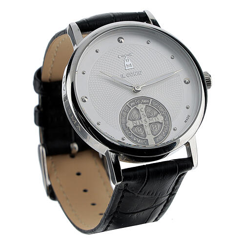 St. Benedict's white dial watch in sterling silver 3