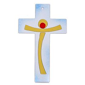 Crucifijo moderno vidrio azul s1