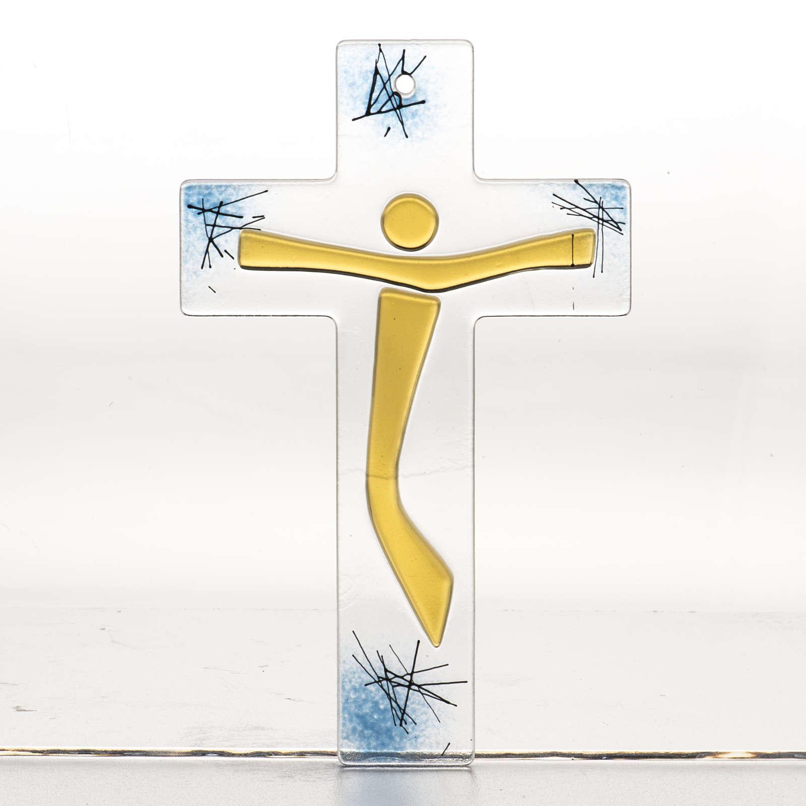 Crucifijo moderno vidrio - cuerpo dorado 4