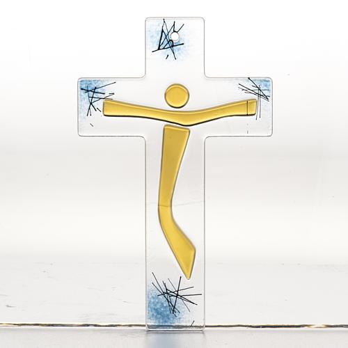 Crucifijo moderno vidrio - cuerpo dorado 1