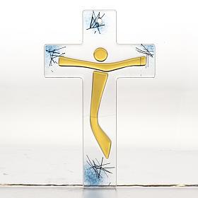 Crocifisso moderno vetro corpo dorato s1