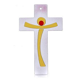 Crucifijo moderno vidrio rosa s1