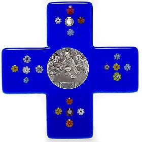Cruz vidrio murano azul Cena Emmaus s1