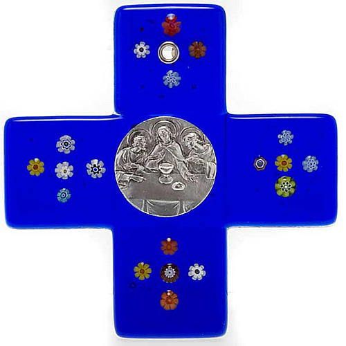 Cruz vidrio murano azul Cena Emmaus 1