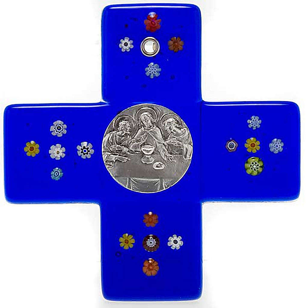 Croce vetro Murano blu Cena Emmaus 4