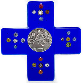 Croce vetro Murano blu Cena Emmaus s1