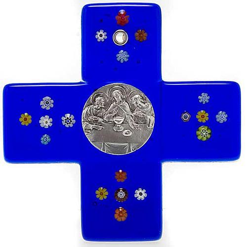 Croce vetro Murano blu Cena Emmaus 1