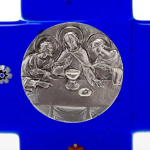 Croce vetro Murano blu Cena Emmaus 3