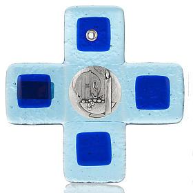 Cruz vidrio Murano azul claro con placa IHS s1