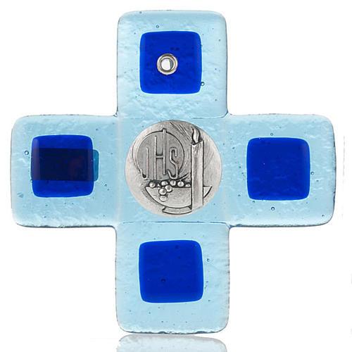 Cruz vidrio Murano azul claro con placa IHS 1