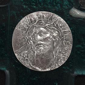 Cruz vidrio Murano turquesa rostro de Cristo s2