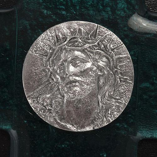 Cruz vidrio Murano turquesa rostro de Cristo 2