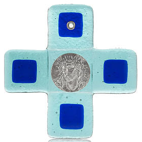 Plexiglass and glass crucifixes: Turquoise Cross in Murano glass, face of Christ