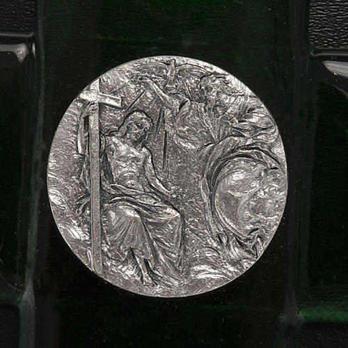 Cruz vidrio Murano verde bautismo de Jesús 2