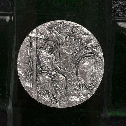 Cross in emerald Murano glass, Baptism of Jesus 2