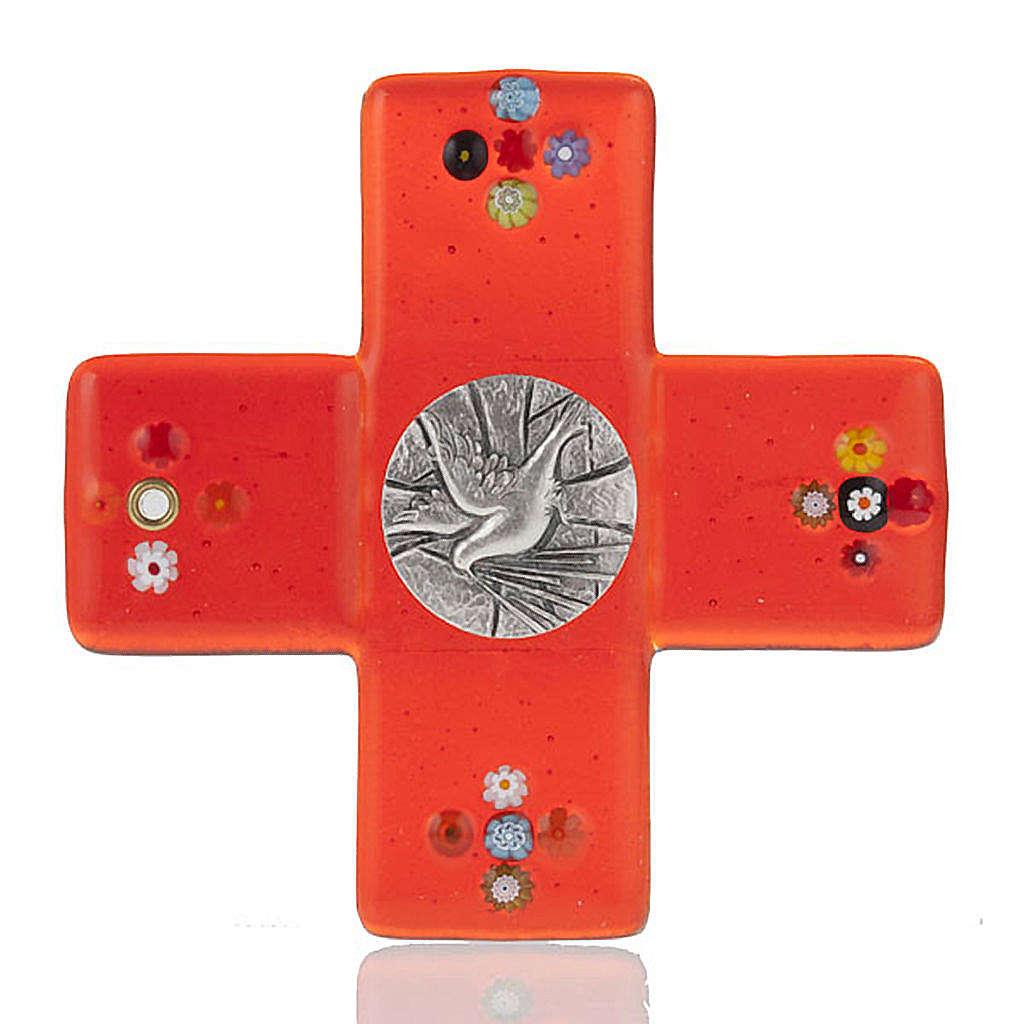 Crucifix verre Murano rouge plaque Saint Esprit 4