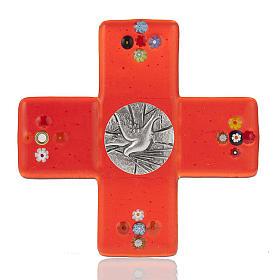 Crucifix verre Murano rouge plaque Saint Esprit s1