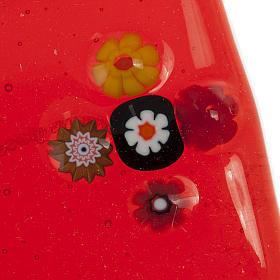 Crucifix verre Murano rouge plaque Saint Esprit s3