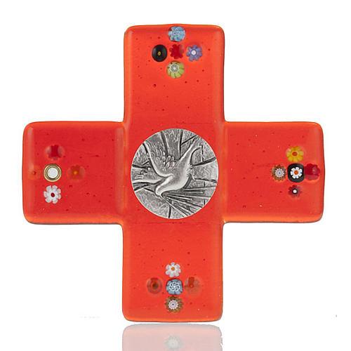 Crucifix verre Murano rouge plaque Saint Esprit 1