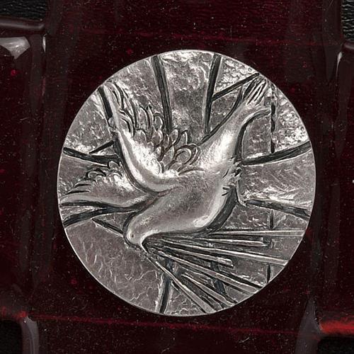 Crucifix verre Murano rouge plaque Saint Esprit 2