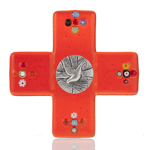 Cross in red Murano glass and Holy Spirit medal 1