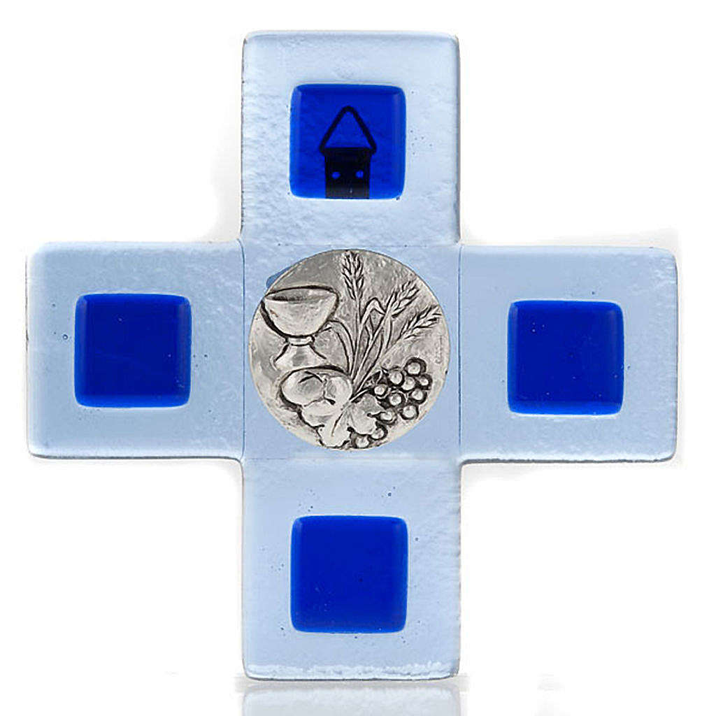 Cruz vidrio Murano chapa Eucaristía azul 4