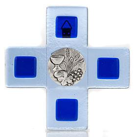 Cruz vidrio Murano chapa Eucaristía azul s1