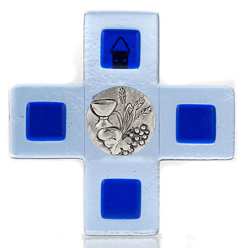 Cruz vidrio Murano chapa Eucaristía azul 1