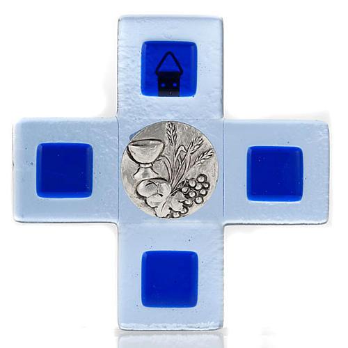 Croce vetro Murano blu placca eucarestia 1