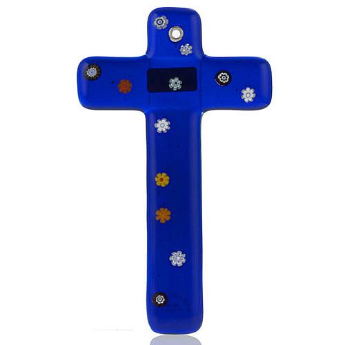 Cruz vidrio de Murano y murrina azul oscuro 1