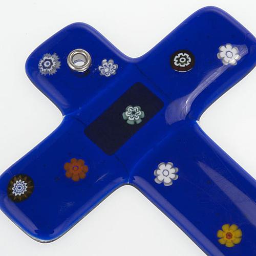 Cruz vidrio de Murano y murrina azul oscuro 2