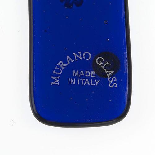 Cruz vidrio de Murano y murrina azul oscuro 3