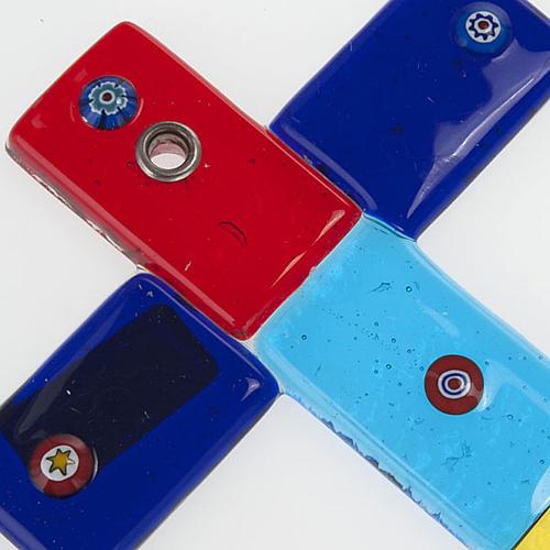Cruz vidrio de Murano multicolor y murrina 2